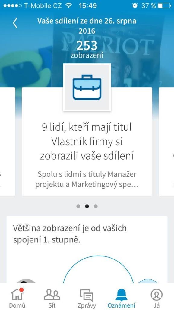 Linkedin rozbor čtenářů na mobilu