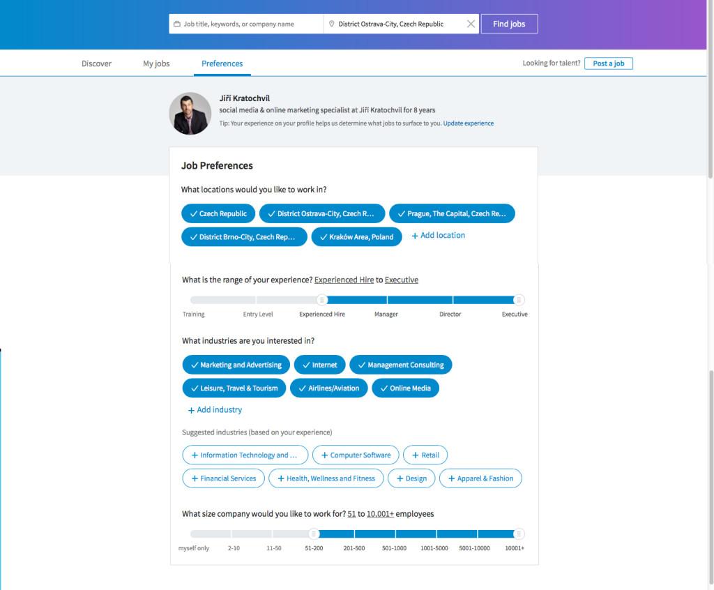 Linkedin JobSeeker homepage