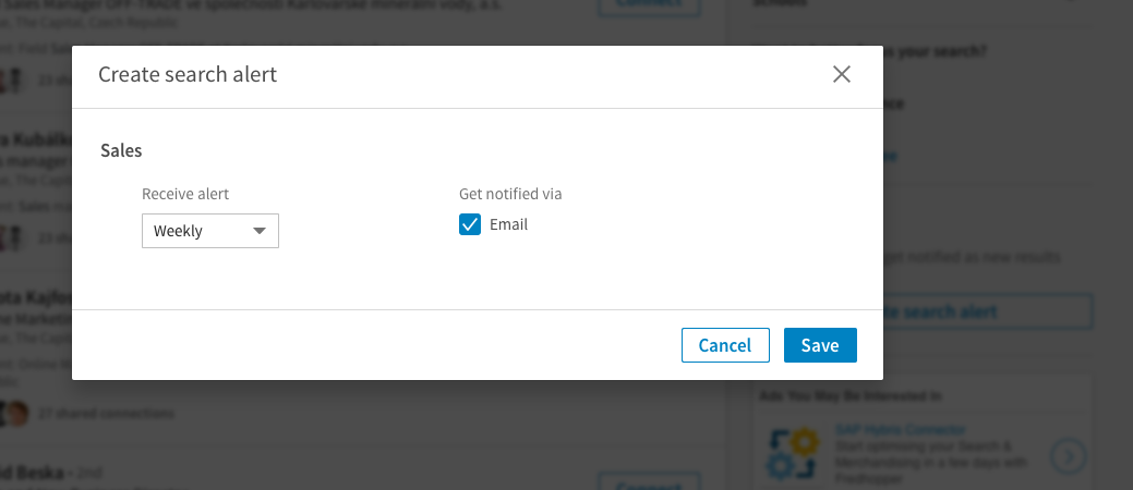 linkedin Save search